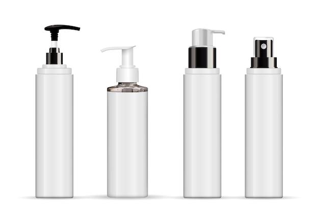 Conjunto de tubo branco cosmético realista isolado no branco