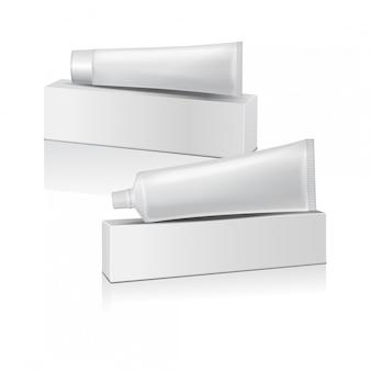 Conjunto de tubo de plástico com caixa branca para medicamentos ou cosméticos - creme dental, creme, gel, cuidados com a pele. modelo de embalagem