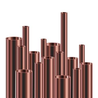 Conjunto de tubos de aço ou alumínio. ilustração. tubos brilhantes de diferentes diâmetros.