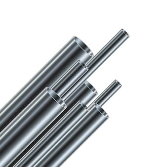Conjunto de tubos de aço ou alumínio, isolados. tubos brilhantes de diferentes diâmetros.