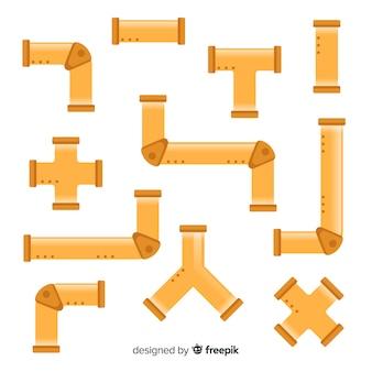 Conjunto de tubos de bronze em design plano