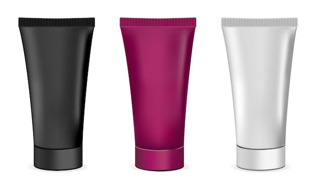 Conjunto de tubos de creme cosmético. preto, branco e cor.