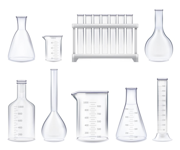 Conjunto de tubos de ensaio realistas e potes de vidro de várias formas com ilustração isolada de escala de medição