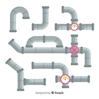 Conjunto de tubos de metal de design plano