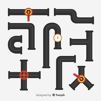 Conjunto de tubos de metal em design plano