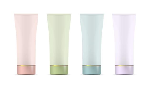 Conjunto de tubos de plástico em branco para cosméticos