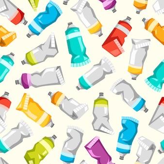 Conjunto de tubos de tinta colorida. padrão sem emenda