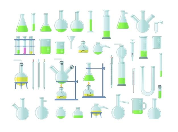 Conjunto de tubos químicos de laboratório