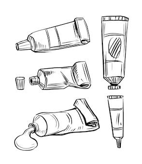 Conjunto de tubos. tubos de tinta. sketch ilustração