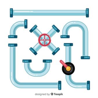 Conjunto de tubulação metálica de design plano