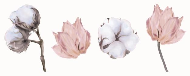 Conjunto de tulipas cor de rosa e algodão