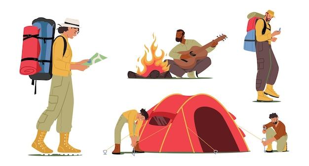 Conjunto de turistas ativos. jovens no acampamento. personagens montam tenda, tocando guitarra na fogueira. caminhadas na empresa de amigos