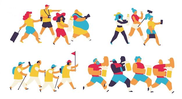 Conjunto de turistas coloridos
