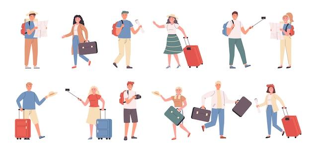 Conjunto de turistas, homens e mulheres viajantes plana