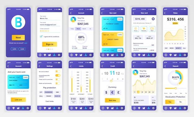 Conjunto de ui, ux, telas gui aplicativo bancário plano