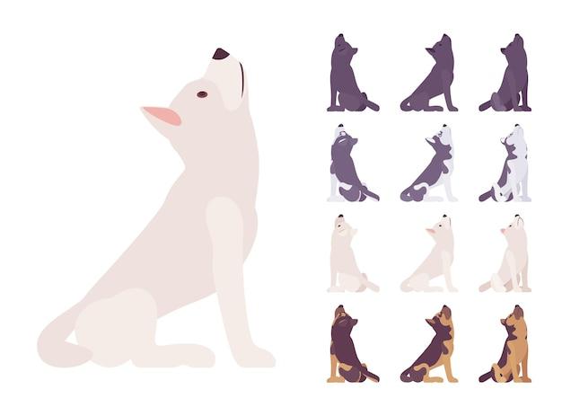 Conjunto de uivos de cão preto, branco, husky, pastor
