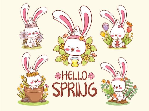 Conjunto de um coelhinho fofo na ilustração de personagem de desenho animado da primavera olá conceito de primavera