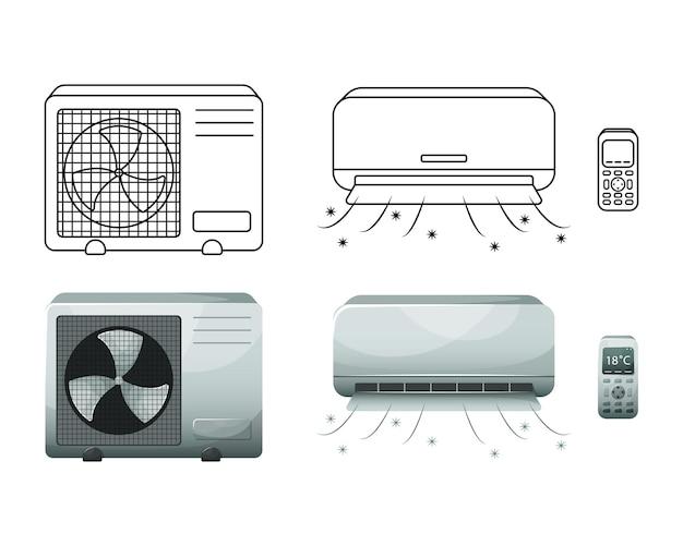 Conjunto de um condicionador de ar doméstico.