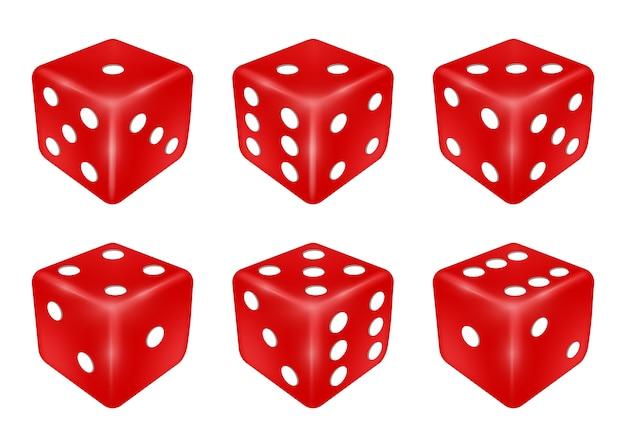 Conjunto de um dado vermelho três dimensões