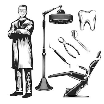 Conjunto de um dentista e seu equipamento isolado no branco.