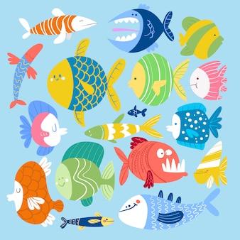 Conjunto de um estilo cartoon peixes