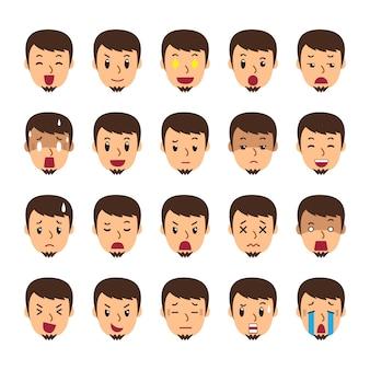Conjunto de um homem enfrenta mostrando diferentes emoções