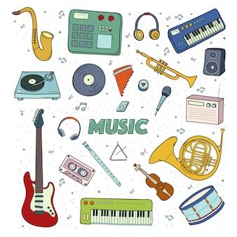 Conjunto de um instrumentos musicais. ilustração colorida.