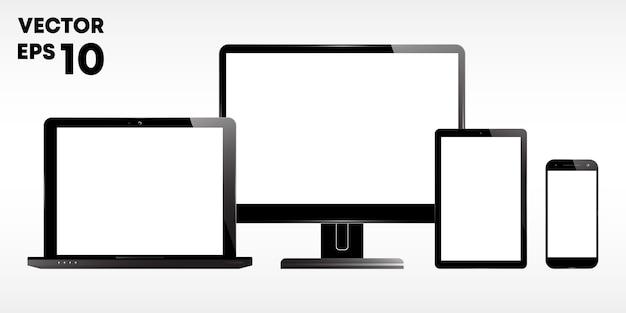 Conjunto de um laptop, monitor de computador ou tela, tablet e smartphone