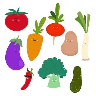 Conjunto de um legumes de estilo dos desenhos animados