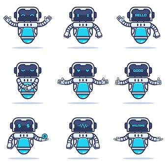 Conjunto de um mascote robô de ferro
