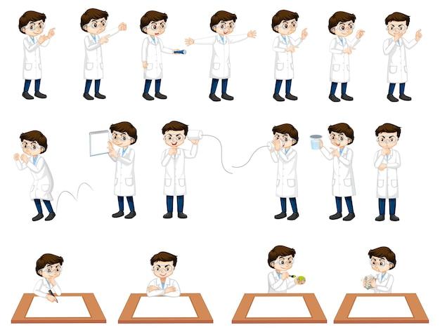 Conjunto de um menino cientista em diferentes poses de personagem de desenho animado