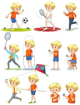 Conjunto de um menino fazendo atividades diferentes
