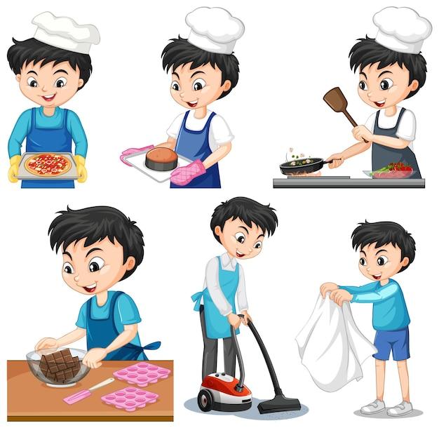 Conjunto de um menino fazendo diferentes tarefas domésticas