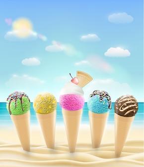 Conjunto de uma casquinha de sorvete real em uma praia de areia do mar