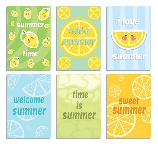 Conjunto de uma coleção de cartão de verão com frutas limão fofa
