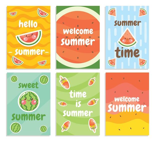 Conjunto de uma coleção de cartões de verão com frutas melancia