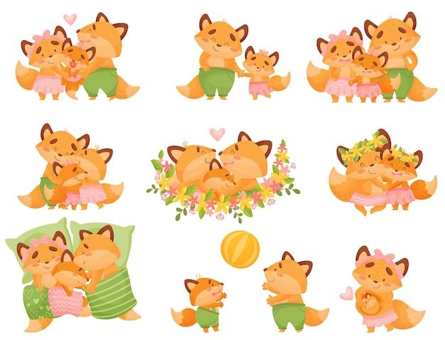 Conjunto de uma família de raposas bonitos dos desenhos animados