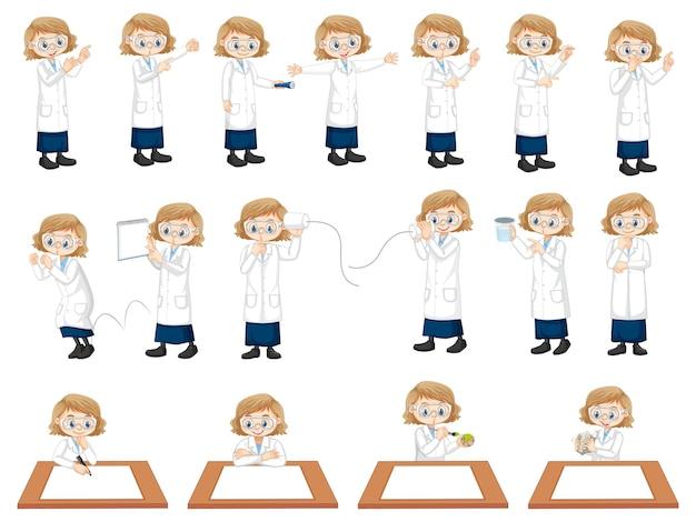 Conjunto de uma garota cientista fazendo experimentos diferentes