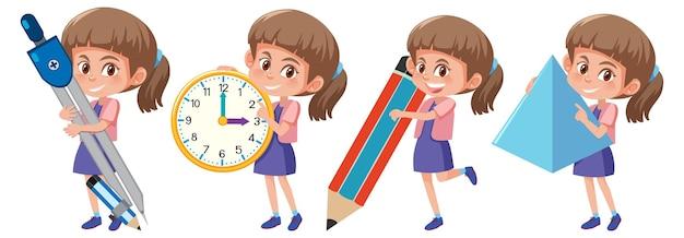 Conjunto de uma garota segurando diferentes ferramentas matemáticas