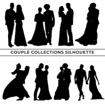 Conjunto de uma grande coleção de silhuetas de casais em diferentes poses