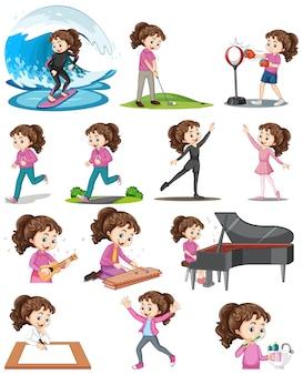 Conjunto de uma linda garota fazendo atividades diferentes