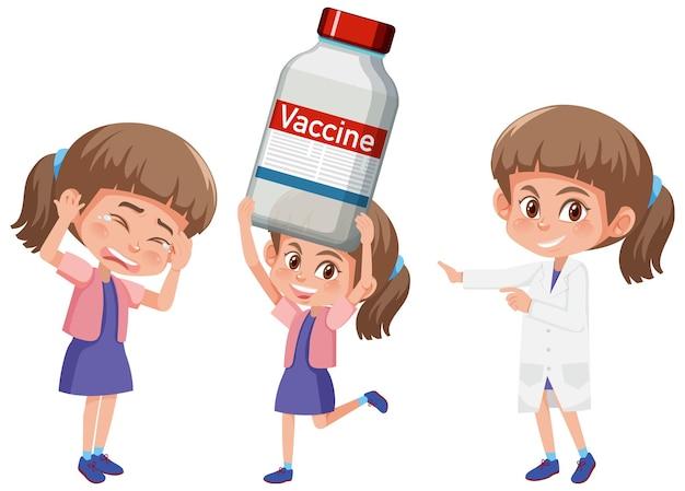 Conjunto de uma menina segurando o conceito de vacina de objetos diferentes