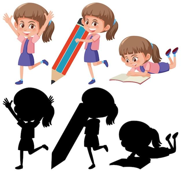 Conjunto de uma personagem de desenho animado em diferentes posições com sua silhueta