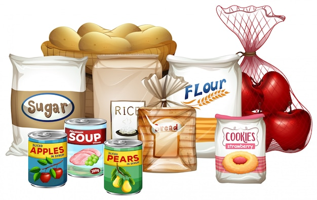 Conjunto de uma variedade de alimentos