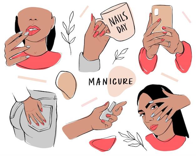 Conjunto de unhas e manicure. mãos femininas segurar esmalte ou telefone. modelo na moda e elegante