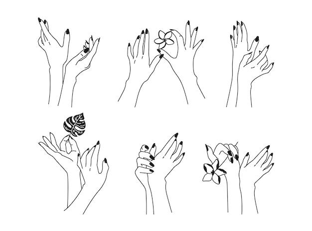 Conjunto de unhas feitas à mão femininas com linha preta
