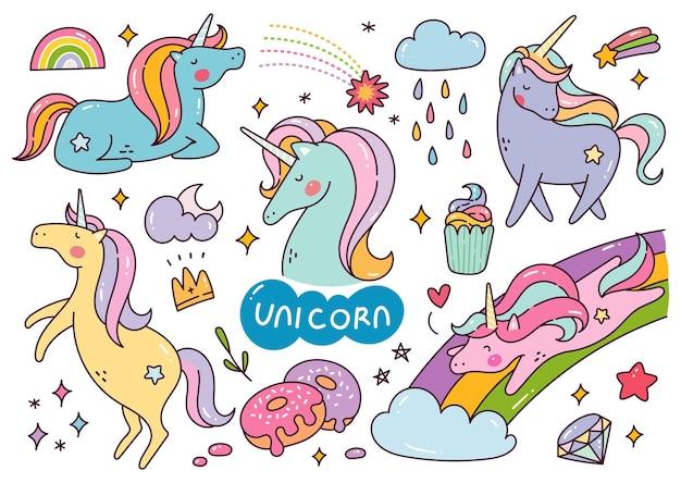 Conjunto de unicorn cartoon kawaii doodle ilustração em vetor