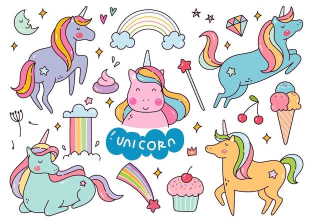 Conjunto de unicorn cartoon kawaii doodle ilustração em vetor Vetor Premium