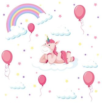 Conjunto de unicórnio fofo com arco-íris e balão