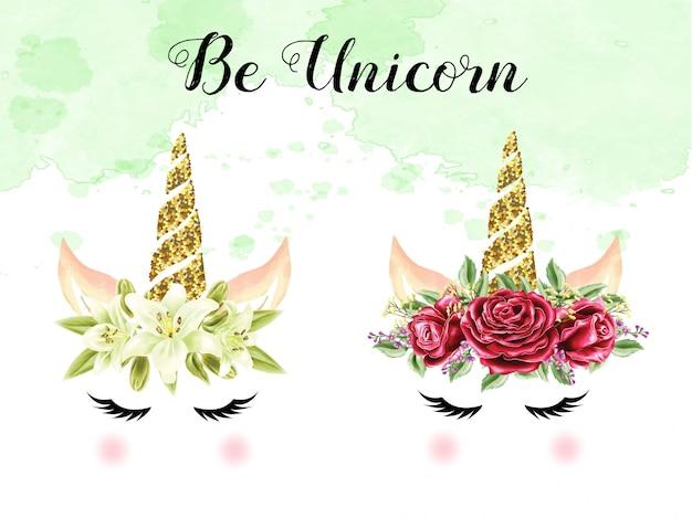 Conjunto de unicórnios de coroa de rosa e lírio aquarela